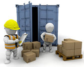 3D men handling materials — Stock Photo