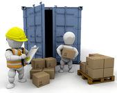 3D men handling materials — Stock Photo