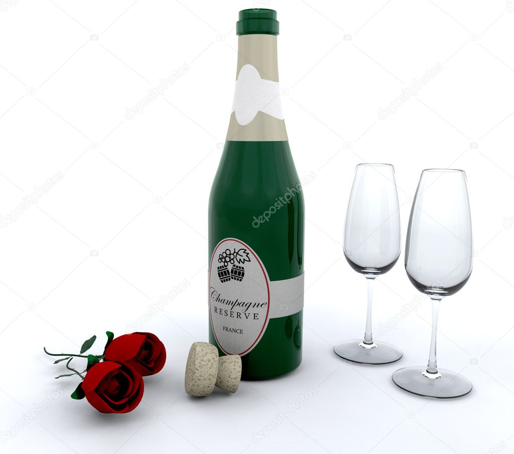 Champagne with red roses and glasses — Stock Photo #4411190