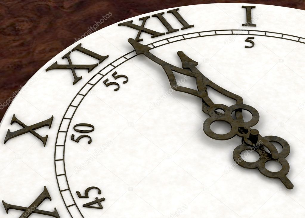 3D render of a clock face showing minutes to midnight — Stock Photo #4413254