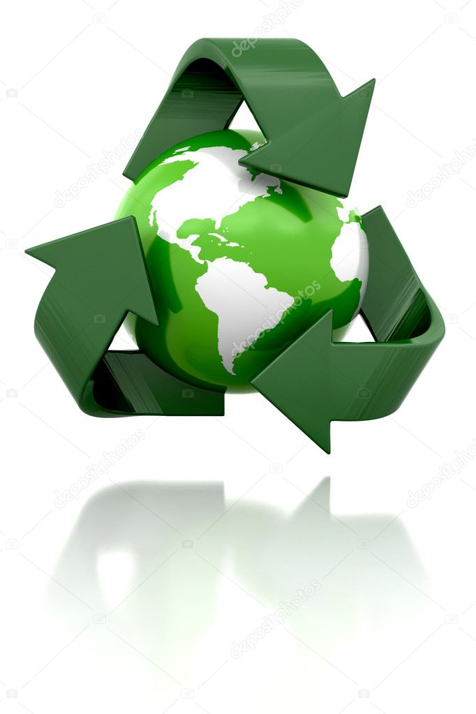 3D render of a globe with a recycling icon — Stock Photo #4413889