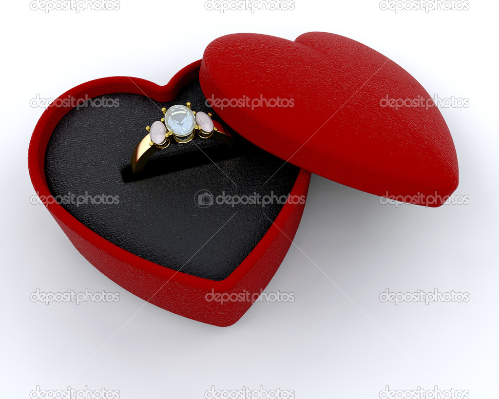 Engagement ring in a heart shaped box — Stock fotografie #4414070