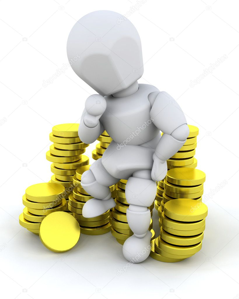 Person sat on a stack of gold coins — Stock Photo #4414169