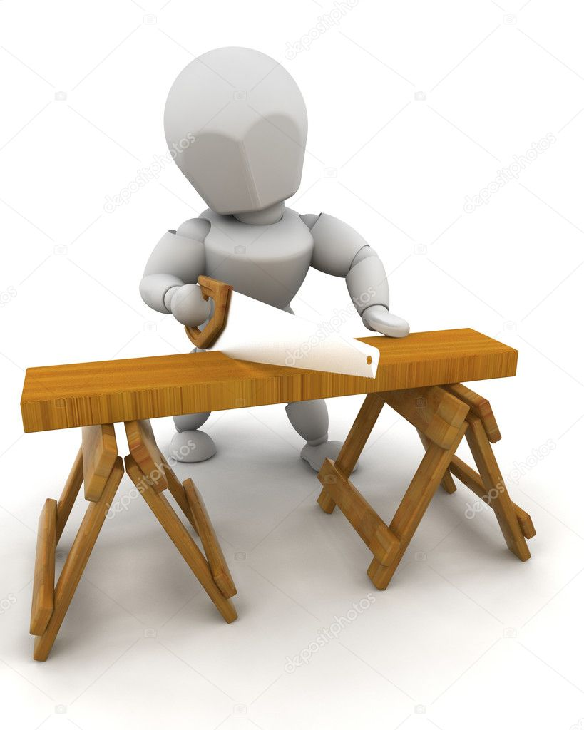 3D Render of a man sawing wood — Stock Photo #4415422