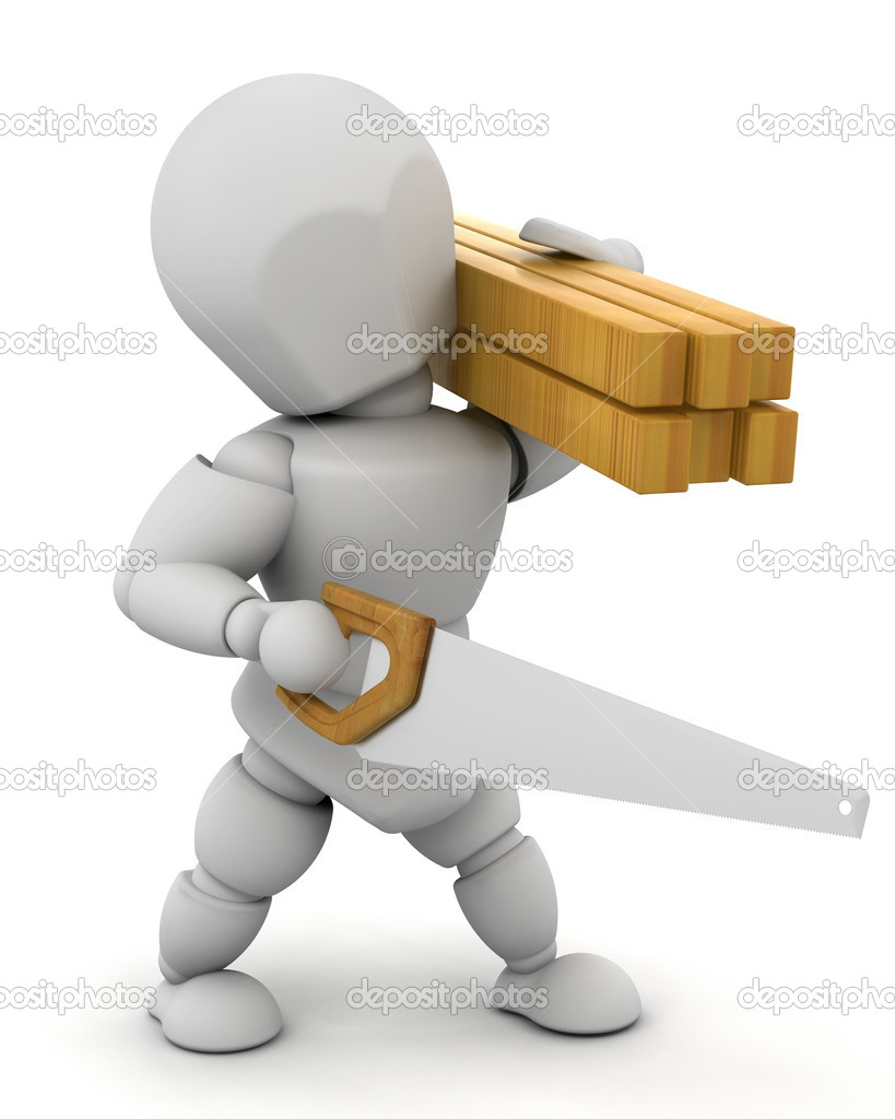 3D Render of a man sawing wood — Stock Photo #4415441