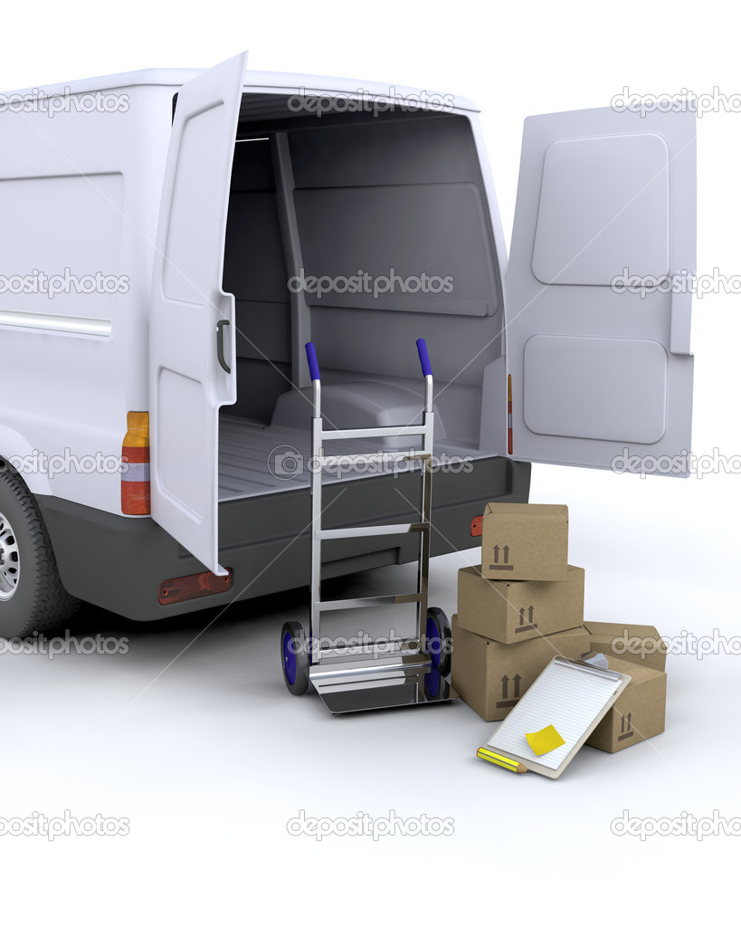 3D render of delivery boxes and clipboard next to a van — Stock Photo #4415601