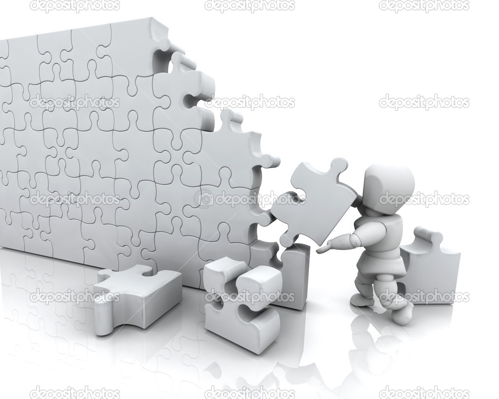 Solving jigsaw puzzle — Stock Photo © kjpargeter #4416145