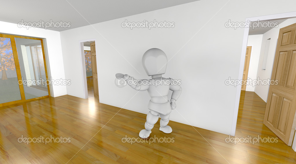 3d render of a realtor showing a property  Stock Photo #4418437