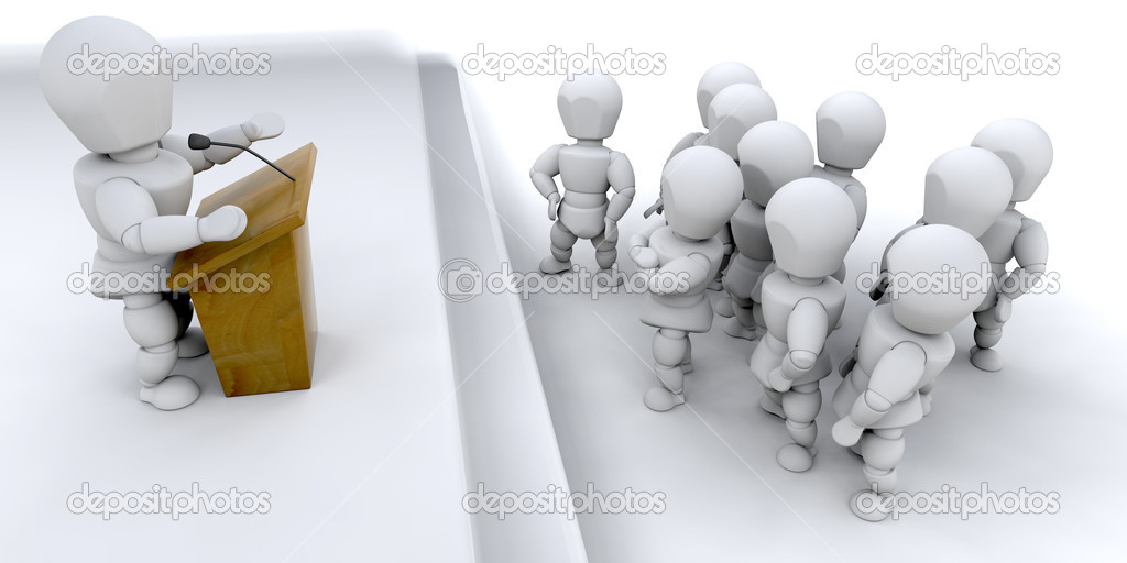 A man speaking to a crowd of — Stock Photo #4419415