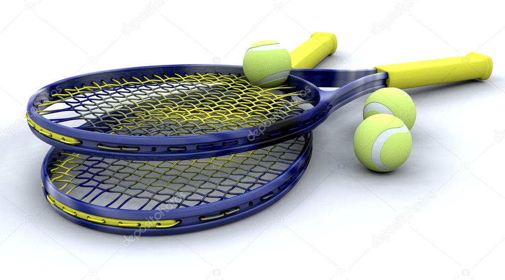 3D tennis equipment isolated over white — Stock Photo #4419515
