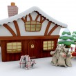 Santa and winter cabin - Stock Photo