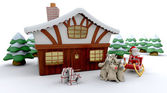 Santa and winter cabin — Stock Photo