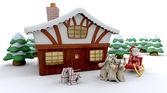 Santa and winter cabin — Stock Photo