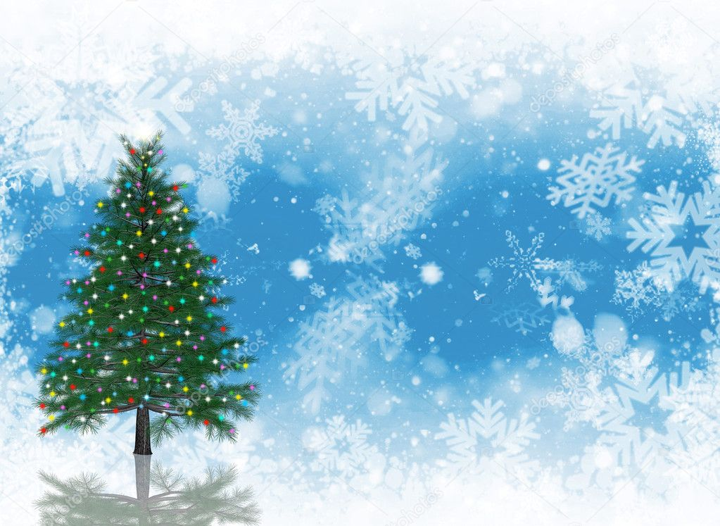 Christmas tree with glittering lights on snowflake background  Stock Photo #4420425