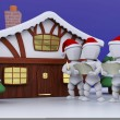 Carol Singers at Winter Cabin - Stock Photo