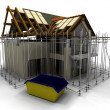 Stockfoto: Contemporary house under construction with scaffold