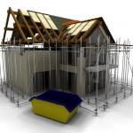 moderna hus under uppbyggnad med byggnadsställning — Stockfoto