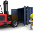 Man in forklift truck loading a container — Stock Photo