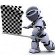 Robot waving chequered flag — Stock Photo #5039260