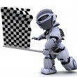 Robot waving chequered flag - Stock Photo