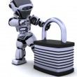 Robot with padlock — Stock Photo