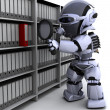 Stock Photo: Robot filing documents