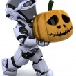 Stock Photo: Robot with jack o lantern pumpkin