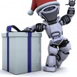 Robot with christmas gift box with bow — Stock Photo