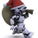 Robot with christmas gift sack — Stock Photo