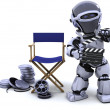 Robot with clapper boards and film reels — Stock Photo