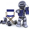 Royalty-Free Stock Photo: Robot with popcorn and soda with directors chair