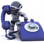 与传统的电话的机器人 — 图库照片