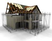 Nowoczesny dom w budowie z rusztowań — Zdjęcie stockowe