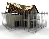 Contemporary house under construction with scaffold — Stock Photo