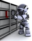 Robot filing documents — Stock Photo