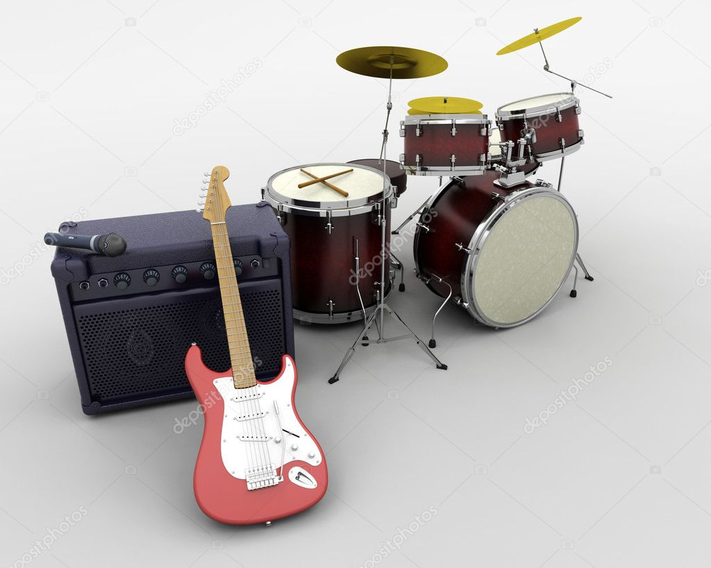 3d render of a guitar amplifier and drum kit — Stock Photo #5032050