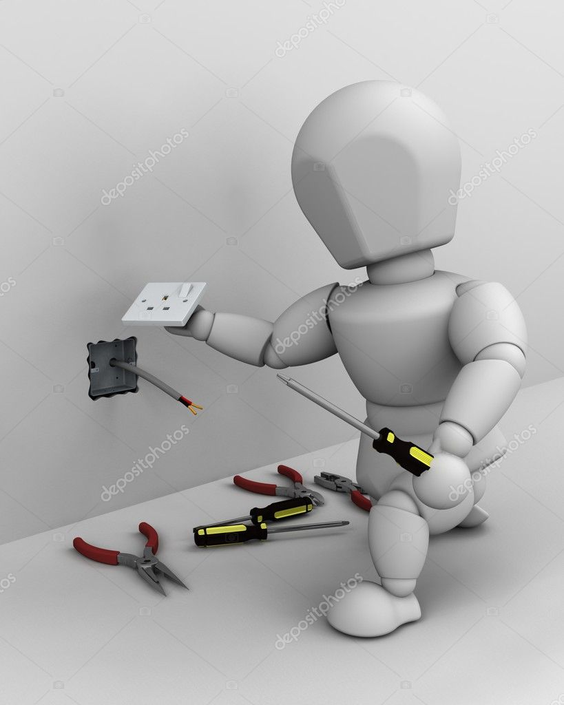 3D render of a man fitting an electrical socket  Stock Photo #5033224