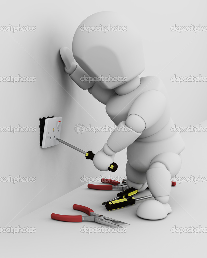 3D render of a man fitting an electrical socket  Stock Photo #5033248