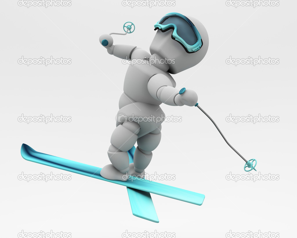 3D render of a freestyle skier doing tricks — Stock Photo #5033971