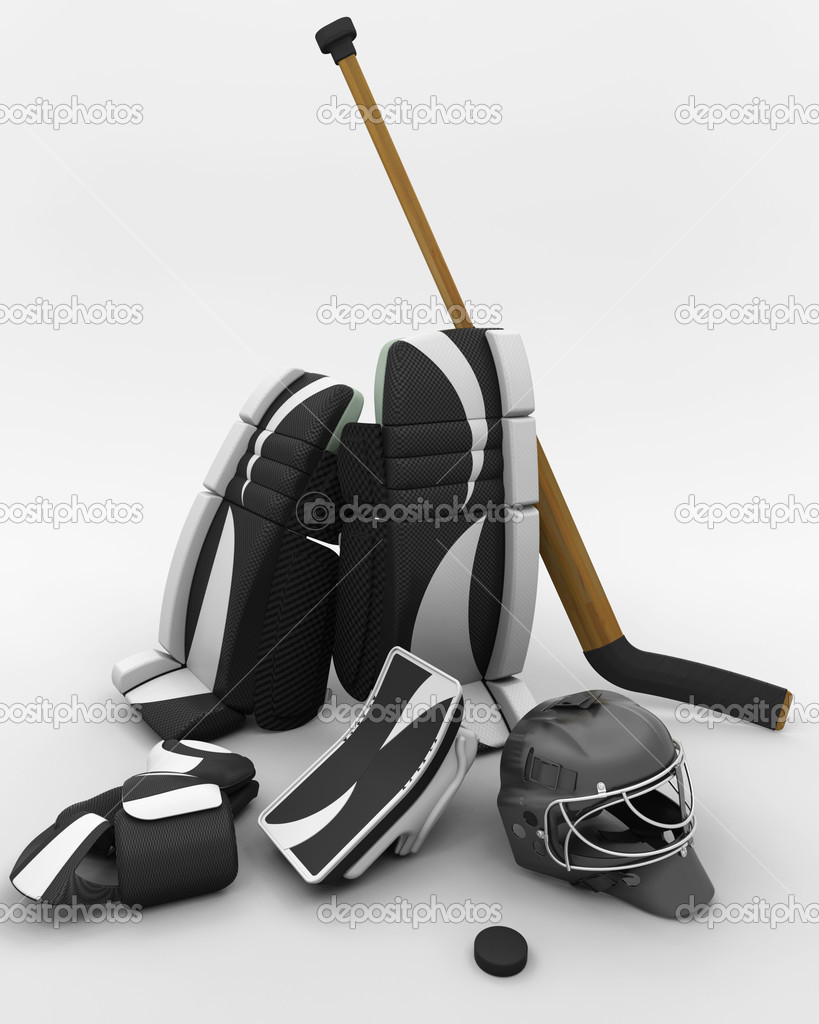 Ice hockey goalie equipment stock image