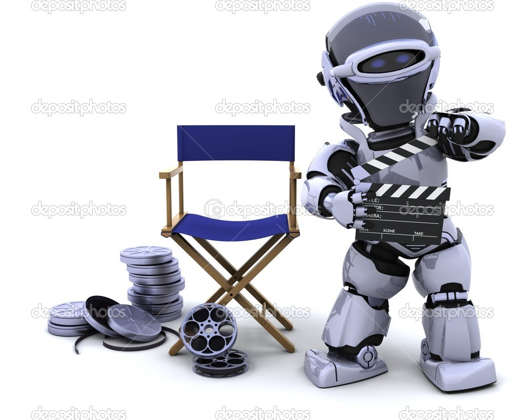 3D render of robot with clapper boards and film reels — Stock Photo #5039935