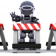 Robot behind a barrier — Stock Photo