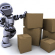 Robot moving shipping boxes — Stock Photo