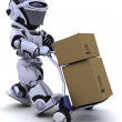 Robot moving shipping boxes — Stock Photo #5040714