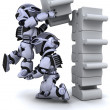 Robot solving jigsaw puzzle — Stock Photo #5040843