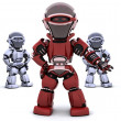 Red robot leading a team — Stock Photo