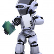 Robot with document folder — Stock Photo