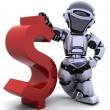 Robot with symbol — Stock Photo