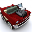 Charicature of supercharged 50's classic car — Stock Photo