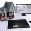 Classic Timber House with computer and blueprints — Stock Photo #5042008